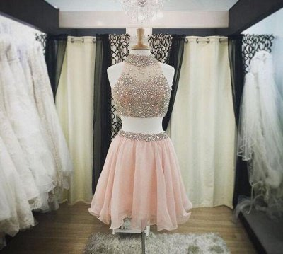 Blush Short Pink Luxury Two-Piece Halter-Neck Crystals Homecoming Dresses_2