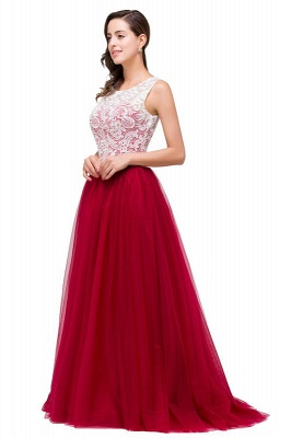 Elegant Red  Evening Gowns Sleeveless Floor-Length A-Line Prom Dress_9