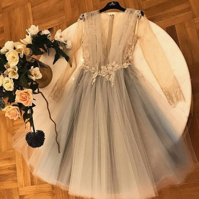 Chic A-Line  Homecoming Dresses | V-Neck Long Sleeves Lace Applique Cocktail Dresses_3