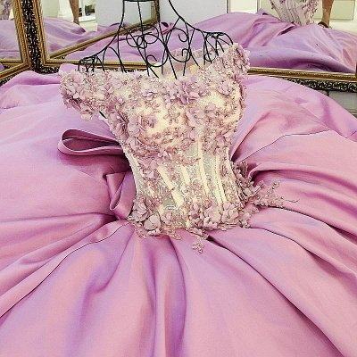 Off-The-Shoulder Flowers Pink Puffy Applique Beaded Bows Prom Dresses_5
