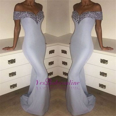 Elegant Silver Mermaid Prom Dresses Off-the-Shoulder Crystals Long Evening Gowns_1