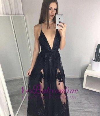 Black Spaghettis Straps Prom Dresses Side Slits Appliques A-line Party Dresses_1