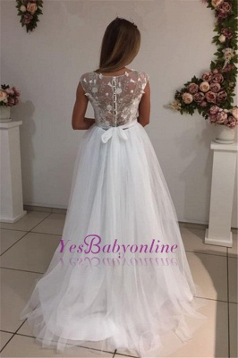 Cap-Sleeves A-Line Glamorous Tulle White Appliques Wedding Dresses_1