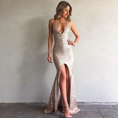 Mermaid Sequined Backless Sexy Front-Split V-Neck Prom Dress_4