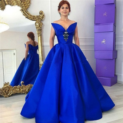 Floor-Length Royal-Blue Ball-Gown Elegant Crystal Prom Dress_4