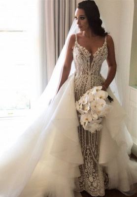 Fashionable Sexy Mermaid Lace Wedding Dresses with Detachable Train_1