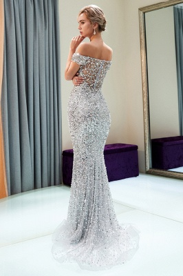 Mermaid Silver Sequins Off-the-shoulder Long Prom Dress | 2019 Evening Dress_3