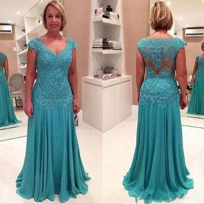 Elegant A-line Cap Sleeves Floor Length Lace Mother of Bride Dresses_3