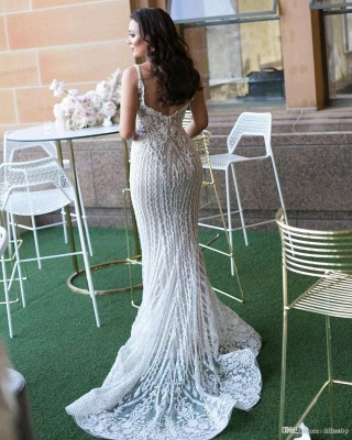 Fashionable Sexy Mermaid Lace Wedding Dresses with Detachable Train_3