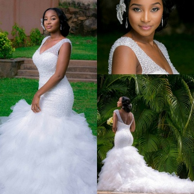 V-neck Mermaid Wedding Dresses | Beaded Ruffles Lace-up Bridal Gowns_4