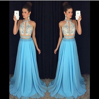Sweep-Train Halter Newest Lace-Appliques Sleeveless A-line Prom Dress_3