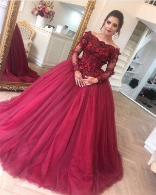 Long-Sleeves Off-The-Shoulder Applique Burgundy Ball Gown Prom Dresses_2