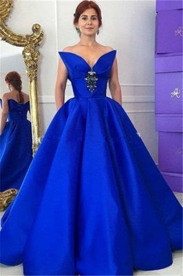Floor-Length Royal-Blue Ball-Gown Elegant Crystal Prom Dress_2