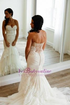 Tulle Appliques Sweetheart Neck Mermaid Wedding Dresses_1