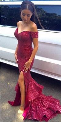 Sequins Side-Slit Off-the-Shoulder Fuchsia Ruffles Prom Dresses_3