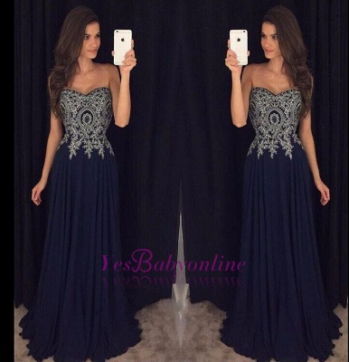 Navy-Blue Lace-Appliques Elegant Long  Prom Dresses_1