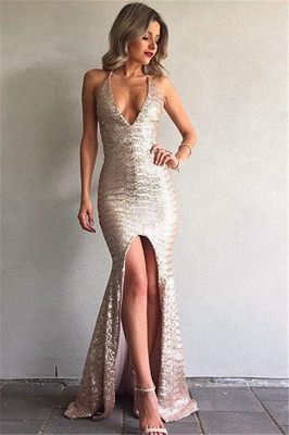 Mermaid Sequined Backless Sexy Front-Split V-Neck Prom Dress_2
