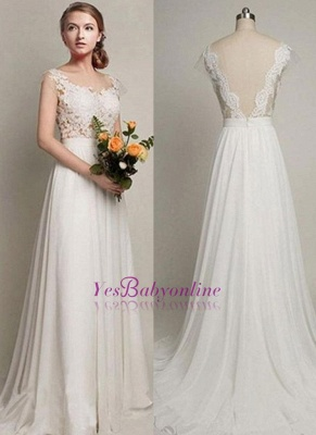 Straps A-line Simple Lace Backless Sweep Train Wedding Dress_1