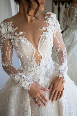 Jewel Long Sleeve Beaded A line Wedding Dresses With 3D Flower_3