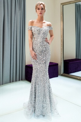 Mermaid Silver Sequins Off-the-shoulder Long Prom Dress | 2019 Evening Dress_2