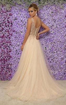 Sexy V-Neck Sleeveless Long Evening Dresses | 2019 Tulle Crystal Side Slit Prom Dresses Cheap_3