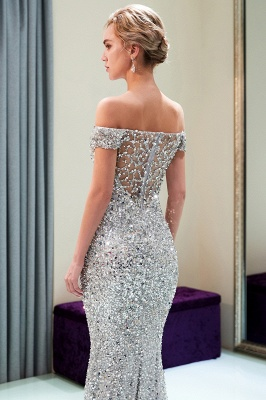 Mermaid Silver Sequins Off-the-shoulder Long Prom Dress | 2019 Evening Dress_5