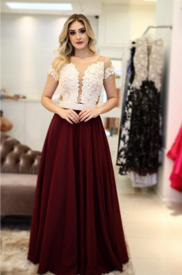 Short-Sleeves Pearls A-Line Vintage Scoop Prom Dresses_3