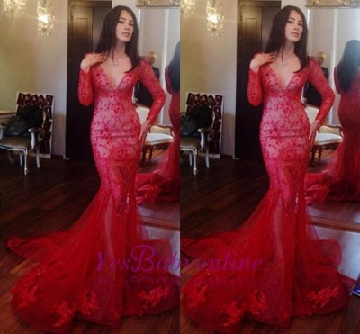 Red Long-Sleeves Appliques  Sexy Mermaid Prom Dress_1