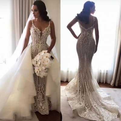 Fashionable Sexy Mermaid Lace Wedding Dresses with Detachable Train_4