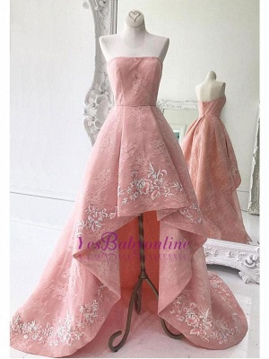 Lace High-Low Strapless Exquisite A-Line Embroidery Prom Dresses_1