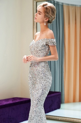 Mermaid Silver Sequins Off-the-shoulder Long Prom Dress | 2019 Evening Dress_4