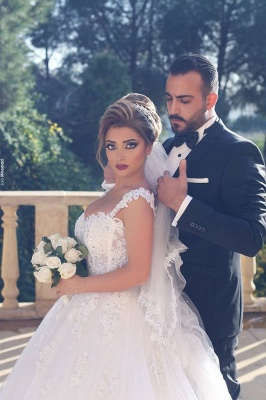 Ball-Gown White Glitter Beading Lace Appliques Straps Wedding Dresses_3