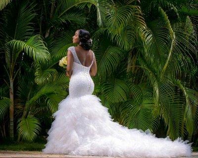 V-neck Mermaid Wedding Dresses | Beaded Ruffles Lace-up Bridal Gowns_3