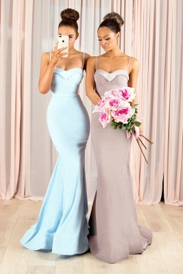 Elegant Spaghetti-Strap Bridesmaid Dresses | Sleeveless Mermaid Wedding Party Dresses_1