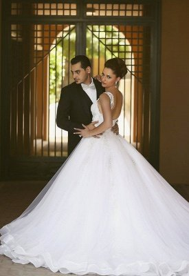 Charming Straps Beaded Ball-Gown Lace-Appliques Wedding Dresses_2