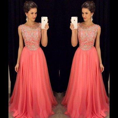 Sleeveless Crystal  Popular Scoop A-Line Prom Dress_3