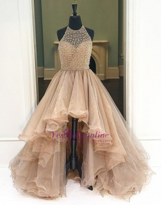 Prom Dresses Low Halter Beading A-Line Brilliant  High Evening Dresses_1