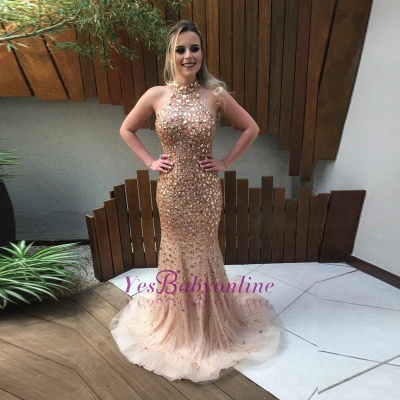 2019 Gold Crystals Prom Dresses Halter Neck Backless Luxury Evening Gowns_1