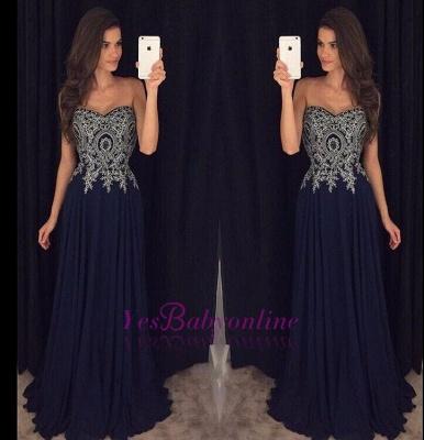 Navy-Blue Lace-Appliques Elegant Long  Prom Dresses_1