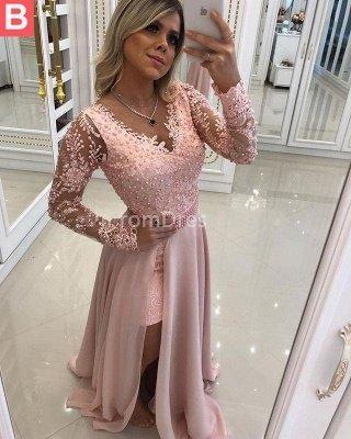 Sky Blue Lace Fashion Long-Sleeve Prom Dresses_3