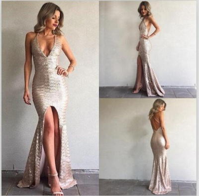 Mermaid Sequined Backless Sexy Front-Split V-Neck Prom Dress_3