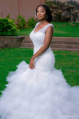 V-neck Mermaid Wedding Dresses | Beaded Ruffles Lace-up Bridal Gowns_1