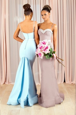 Elegant Spaghetti-Strap Bridesmaid Dresses | Sleeveless Mermaid Wedding Party Dresses_3
