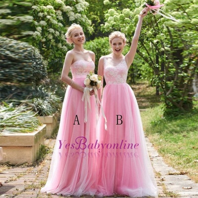 Straps Pink A-line Lace Floor-length Amazing Sleeveless Bridesmaid Dress_1