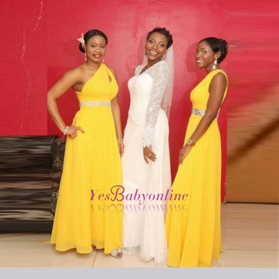 Modern A-line Chiffon Yellow One-Shoulder Beads Bridesmaid Dress_1