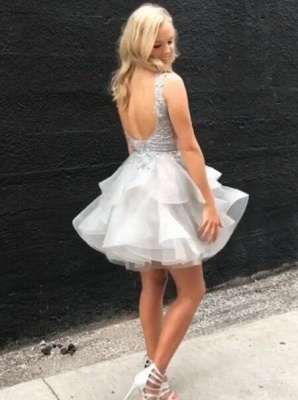 Short Silver Homecoming Dress 2019,Sexy  Backless Party Dress_3