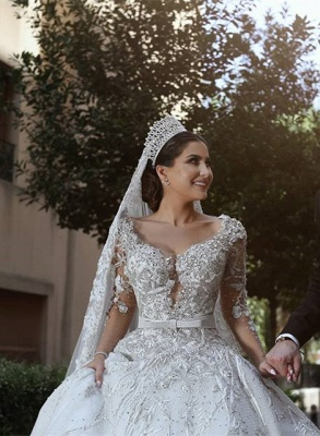 Luxury Sweetheart Long Sleeves Ball Gown Wedding Dresses | Couture Bridal Gowns_4