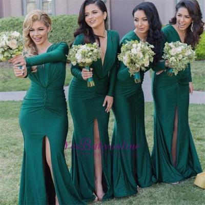 Green Front-Split Long-Sleeves V-Neck Sexy Mermaid Bridesmaid Dresses_1