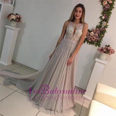 A-Line Crystal Sleeveless Court-Train Elegant Prom Dress_1