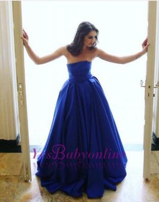 Strapless Simple Long A-line Elegant Sleeveless Blue Evening Dress_1
